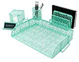 Blu Monaco Office Supplies Mint Green Desk Organizers and Accessories-5 Piece Cute Desk Or...