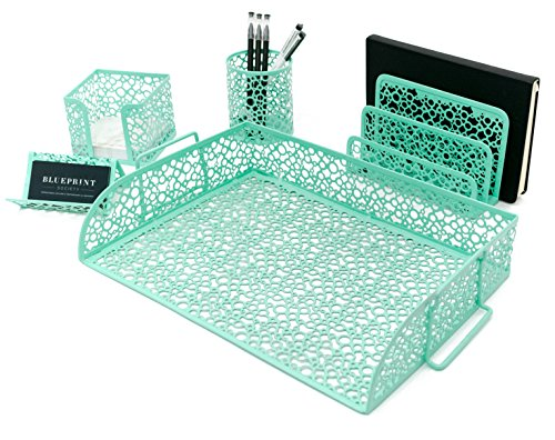 Blu Monaco Office Supplies Mint Green Desk Organizers and Accessories-5 Piece Cute Desk Organizer Set-Letter Tray-Pen Cup-Sticky Note Holder-Business Card Holder-Mail Sorter