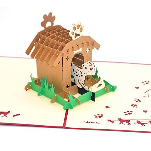 Medigy 3D Pop Up tarjetas de felicitación, caseta de perro y perro...