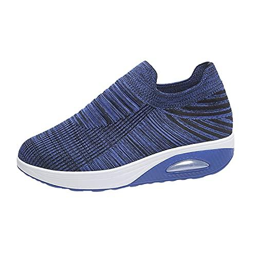 URIBAKY - Zapatillas de deporte para mujer, transpirables, transpirables, para correr, zapatillas de deporte, azul, 42 EU