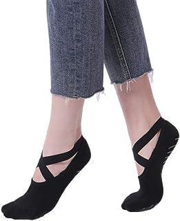 4 Pairs Yoga Socks for Women Anti-Skid Pilates Socks Non Slip Sticky Ballet Barre Socks with Grippers
