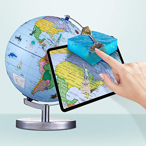 Goodking World Globe, Augmented Reality Interactive Globe for Kids,Illuminated AR Globe for Geography Learning with Interactive App, Stem Toy forBoys & Girls, Educational Toy Gift
