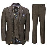 Xposed Marrone Tweed A Spina di Pesce 3 Tuta da Uomo Camoscio Nero della Cornice Elegante vestibilità su Misura [SUIT-X6058-1-BROWN-40UK]