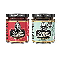 """You will receive a 2 Pack of Candied Jalapenos (Red & Green) SWEET & SPICY - Our Candied Jalapenos are not your ordinary Jalapenos. They are """"Sweet with a little Heat"""". Due to the cooking process they start off SWEET and finish with an afterburn of H..."""