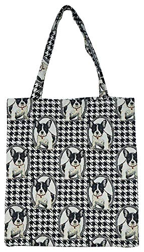 Signare Tapestry Reusable Grocery Eco-Friendly Shopping Tote Bag with Black & White French Bulldog Design