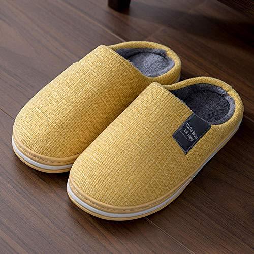 Cxypeng Womens Lined Slippers Anti-Skid,Women's winter plush slippers, thick-soled warm cotton shoes-UK5-UK5.5_yellow,Women's Anti-Slip House Slippers