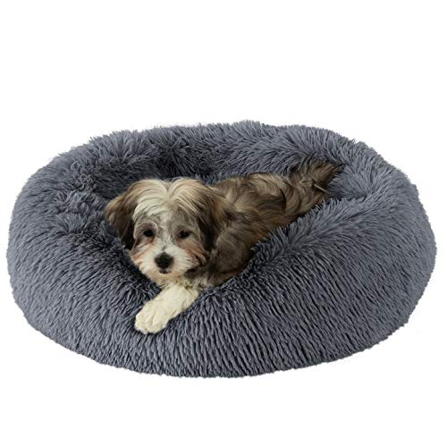 GM PET SUPPLIES Luxurious Orthopedic Dog Bed | Fluffy Lightweight Bedding Pads for Dogs & Cats | Made from Ultra-Comfortable Faux Fur with an Anti-Slip Bottom (Small 23', Blue-Grey)