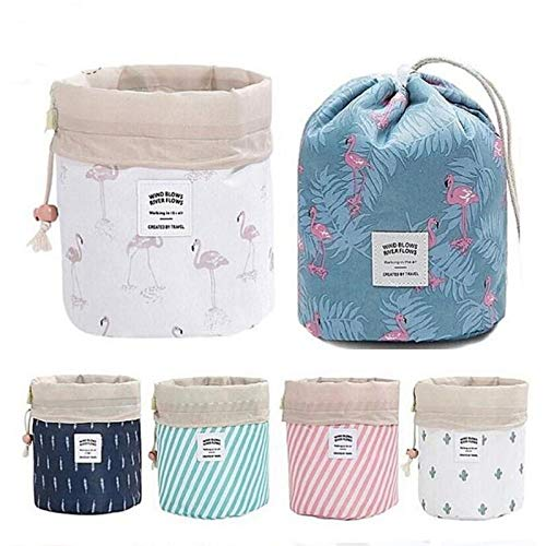 Xiangtat Travel Cosmetic Bag Travel Makeup Bag Organizer Women Girls Barrel Shaped Hanging Toiletry Wash Bags Drawstring Makeup Storage Bag + Small Pouch+ Clear PVC Brush Bag (Cactus)