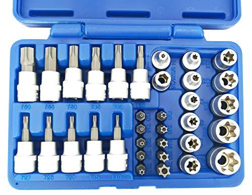 Steckschlüssel Satz E-Profil T-Profil Torx 34-tlg. Aussen Innen Innentorx Aussentorx Set