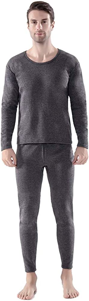Men's Thermal Underwear Set Fleece Fleece Lined Winter Skiing Warm Top & Bottom Thermal Long Johns