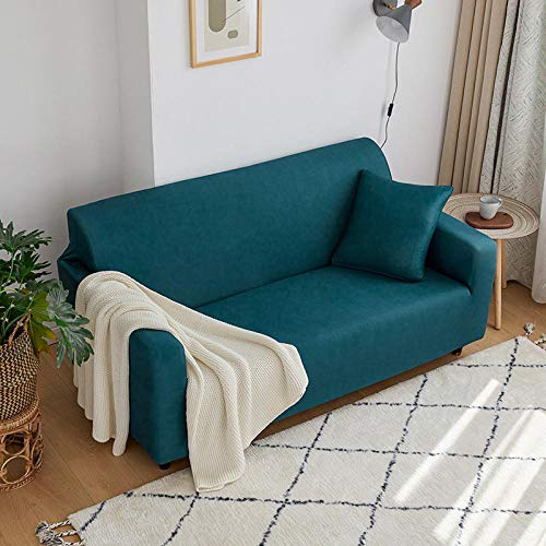 Fundas Sofas 3 y 2 Plazas Ajustables Azul Verde Fundas Sofá,Universal Funda Cubre Sofas Ajustables, Antideslizante Protector Cubierta de Muebles(145-185cm)