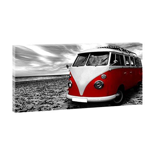 Querfarben Strand mit Retro Bulli | Panoramabild im XXL Format | Poster | Wandbild | Poster | Fotografie | Trendiger Kunstdruck auf Leinwand Größen (160 cm x 80 cm x 2 cm, Schwarz-Weiß/Rot)