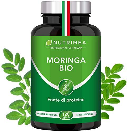 Moringa Biologica | Moringa Oleifera 120 Capsule 400mg | Vitamine Antiossidanti Proteine | Fonte di Energia | Immunostimolante | Trattamento 4 Mesi | Capsule Vegane Origine Vegetale