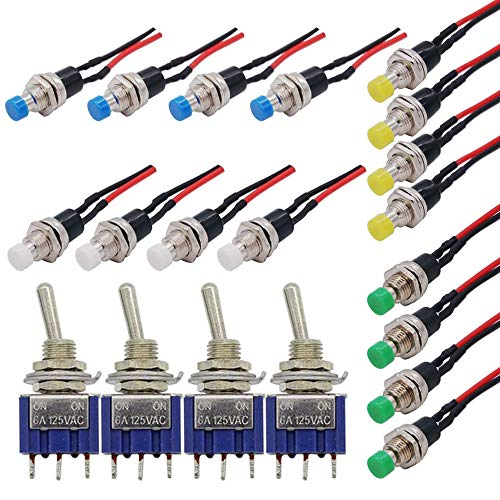 GTIWUNG 16Pcs Pre Cableado Mini Interruptor,Momentáneo de Botón 1A 250V AC Resorte con Dos Pines SPST Normalmente Abierto + 4Pcs Mini Interruptor de Palanca AC 125V 6A ON-ON