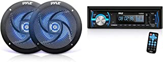 $68 » Low-Profile Waterproof Marine Speakers - 100W 4 Inch 2 Way 1 Pair Audio Stereo Sound System - (Black) & Marine Bluetooth S...