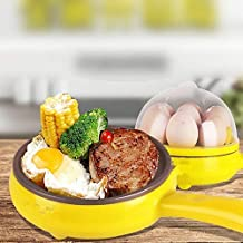 weltime 2 in 1 Multifuctional Steaming Device Egg pan Frying Egg Boiling Roasting Heating Electric Mini Egg Boiler Poacher & Steamer Electric Automatic Egg Frying Pan Non Stick (Multi Color)