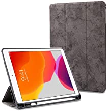 "ProElite Smart PU Flip Case Cover for Apple iPad 7th Generation 10.2"" with Pencil Holder, Grey"