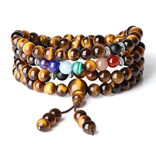 COAI Bracciale Collana 108 Perle Mala in Occhio di Tigre e Pietre dei 7 Chakra, Bracciale Buddhista Unisex