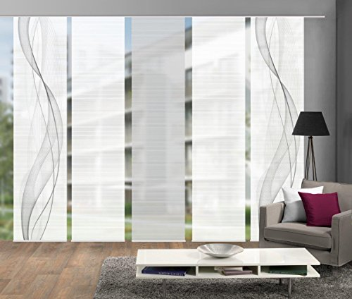 Vision S 95633-0307 | 5er-Set Schiebegardine Heights | halb-transparenter Stoff in Bambus-Optik | 5X 260x60 cm | Farbe: Grau