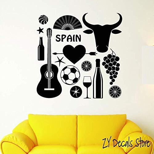 Símbolo Taurino Español Tatuajes De Pared Fútbol Y Guitarra Etiqueta De La Pared Sala De Estar Extraíble Arte Mural Fondo De Pantalla 56X56Cm