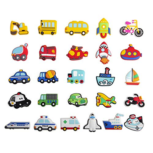 WISESTAR 26PCS Transports Rubber Fridge Magnets for Kids Toddlers - Aircraft, Boat, Vehicle, Car Refrigerator Magnet for Whiteboard - Educational Toy Tool School Prize Birthday Gift- Kids Over 6 years