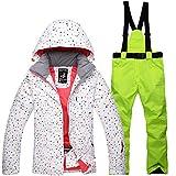 Yeah-hhi Traje de esquí para mujer, chaqueta y pantalones, impermeable, resistente al viento, snowboard, con capucha, para invierno, deportes al aire libre, 8,L