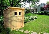 Timbela M312 Abri de jardin en bois exterieur -Chalet en pin/ épicéa- toit plat - 130 x 180 cm- 1,98m2