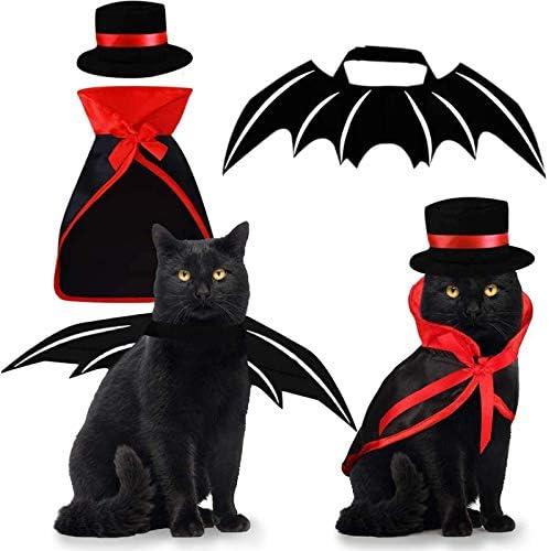 Pet Costumes Cat Cosplay 3 PCS Vampire Cloak with Bowler Hat Bat Wings Pet Cosplay Costumes product image