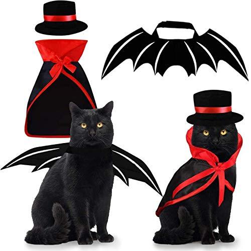 Pet Costumes Cat Cosplay 3 PCS, Vampire Cloak with Bowler Hat Bat Wings Pet Cosplay Costumes for...