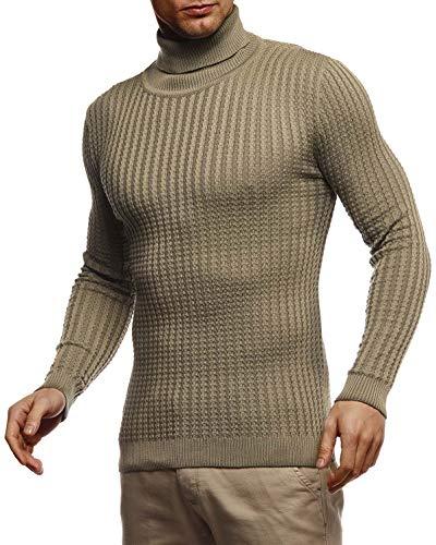 Leif Nelson Pull en tricot chaud pour homme avec col roulé - Pull d'hiver à col roulé LN2115 - Vert - Small