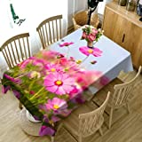 XXDD Mantel de Navidad 3D Colorido patrón de Flores Lavable Rectangular Mantel para Boda A1 140x160cm
