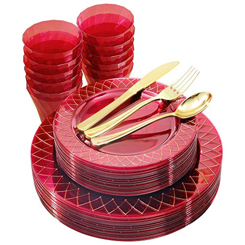 NERVURE 150PCS Clear Red Plastic Plates with Gold Rim&Gold Silverware-Disposable Wedding Party Red Plates Include:25Dinner Plates,25Dessert Plates,25Knives,25Forks,25Spoons,25Cups