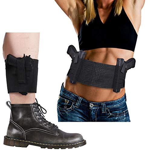 Belly Band Holster + Ankle Holster Set, Accmor Breathable Concealment Gun Holsters for Concealed Carry, Elastic Waist & Leg Holsters with Magazine Pocket/Pouch for Men and Women