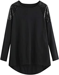 Sunhusing Ladies Shiny Sequined Long Sleeve T-Shirt Loose Plus Size Casual Plus Size Crew Neck Blouse Tops