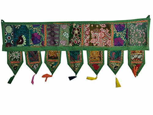 Indio hecho a mano tradicional bordado Toran algodón Thoranam puerta salón decoración bandanwar hogar cenefa decoración ventana colgante bohemia pared étnica decorativa vintage (verde oscuro 1 m)