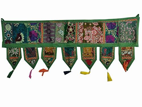 ICC cenefas para ventanas Toran algodón vintage patchwork puerta cenefa ventana bordada a mano decoración bohemia sala de estar dormitorio salón hogar decoración hecha a mano verde oscuro 100 cm