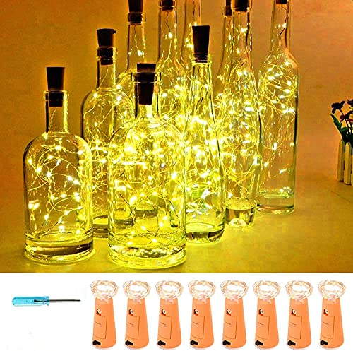 VOOKRY Wine Bottle Lights with Cork,20 LED Battery Operated Fairy String Lights Mini Copper Wire Bottle Lights for DIY, Party,Decor,Christmas,Thanksgiving Day,Wedding(Warm White 8 Pack)