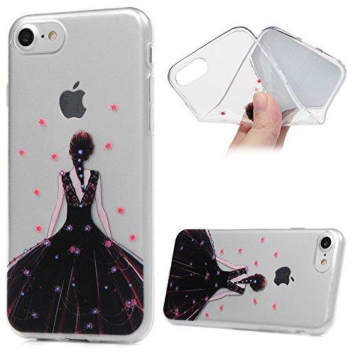 Coque iPhone 7 / iPhone 8 Etui Peinture TPU Silicone Cover Ultra Léger Doux Lisse lumière Créatif Exclusif de Protection de Transparent Téléphone Case - Fille en Robe Noir