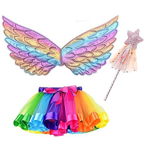 Hifot Déguisement Fée Enfant Costume Papillon Fille Ailes de et Jupe Tutu Ensemble Baguette Magique et Ailes de Fée pour Enfants 3 Pièces