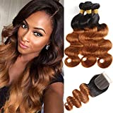 Feelgrace Ombre Two Tone Body Wave Human Hair Bundles with Closure 100% Brazilian Remy Hair Body Wave Weave for Women Long Hair 350 gram (22 24 26 with 20)