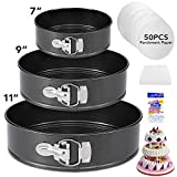 Springform Pan Set of 3 Nonstick Cake Pans,Leakproof Round Cake Pan Set with 3pcs (7'/9'/11') Springform Pan,Bakeware Cheesecake Pan with Removable Bottom and 50pcs Parchment Paper by Molgree