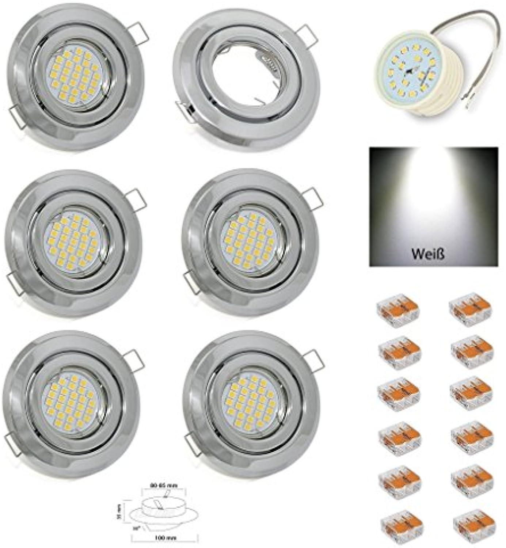 6er Set flacher LED Einbaustrahler Farbe Chrom mit 230V 5W LED Einbautiefe 3cm LED wei mit 230V Anschlussklemmen