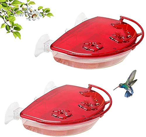 Solution4Patio 2 Pack Window Hummingbird Feeders, New Upgrade Stronger Suction Cups, 13-Ounce Nectar Capacity, Jewel Box Designed #G-B115B00-US
