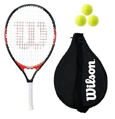 """Wilson Federer Junior 19,21,23,25,26 Raqueta De Tenis + 3 pelotas de tenis RB - 26"""""""