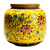 YARDWE Loose Tea Tin Ceramic Tea Caddy Tea Canister Chinese Tea Storage Container Tins Jar with Wooden Lid Retro Jar 400ml Yellow