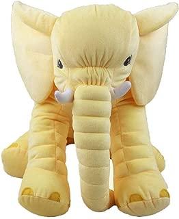 Happy Island Big Elephant Plush Toys Warm Animal Cushion Pillow Cute Long Nose Animal Doll 2 (Small, Yellow)
