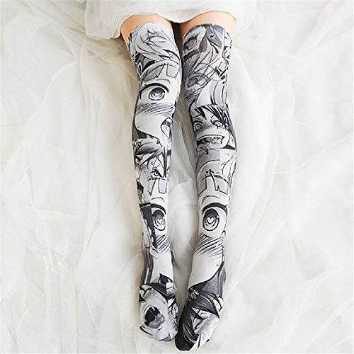 ZHANGNUO Mode Frauen Sexy Dünne Strümpfe 3D Anime Cartoon Gedruckte Kniestrümpfe Fun Devil Girl Lange Socken Strümpfe Einheitsgröße/Grau