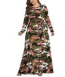 YanhongCai Women's Plus Size Dresses Camouflage Maxi Dress Long Sleeve Camo Print Dress Casual Long Dress, Army Green, Large