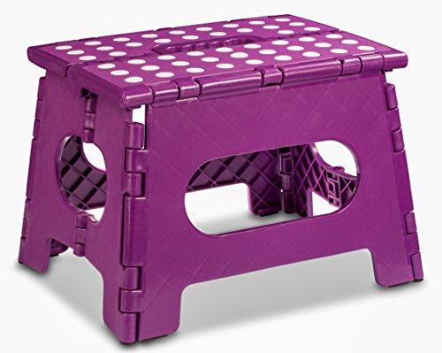Folding Step Stool – Black, Purple, or White