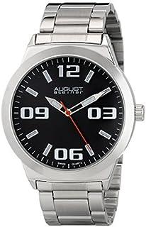 ساعة رسمية للرجال من اوغست شتاينر - قرص ساعة مع علامات ساعة بارقام كبيرة + عقرب ثواني مع سوار من الستانلس ستيل